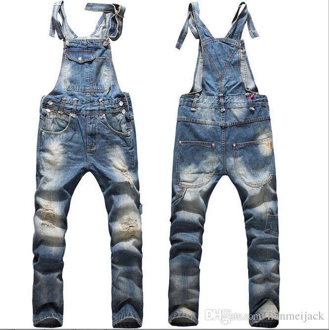 Nueva moda Big Boys Mens Ripped Denim babero overoles de gran tamaño  Rompers 2015 Mena angustia larga Jean mono Jeans pantalones para hombres de  trabajo c1fd8ce6e78
