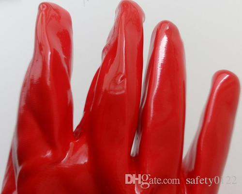 27cm Red PVC Chemical Protective Glove Industrial Hand Protection Glove Corrosion Resisting Protective Oil Proof Glove