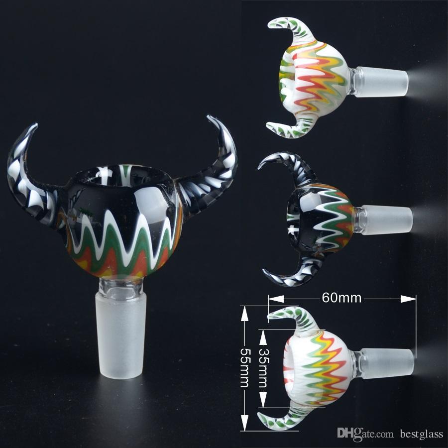 반전 컬러 봉을위한 유리 그릇 14.5mm 남성 관절을 가진 OX 경적 모양 Bestglass T01
