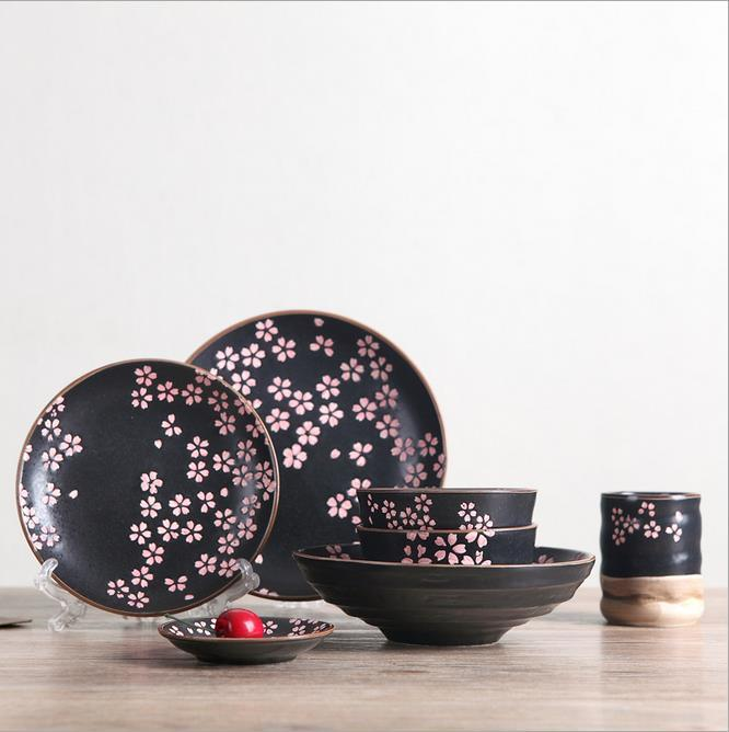 High Quality Japanese Black Pink Cherry Blossom Hand Painted Ceramic Dinnerware Set Creative Bone China Tableware Set For Wedding Best Brand Dinnerware Sets ... & High Quality Japanese Black Pink Cherry Blossom Hand Painted Ceramic ...