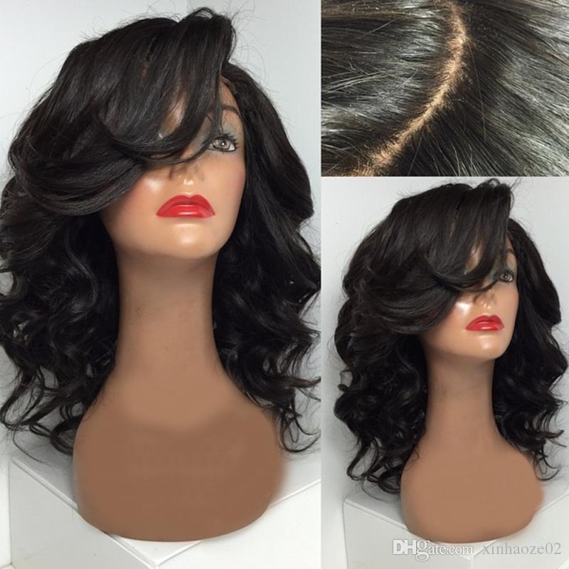 brazilian glueless full lace short human hair wigs with bangs short wavy bob lace front wig for black women
