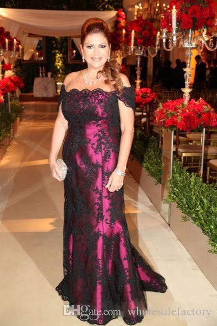 Purple colonne mère robes avec dentelle noire Cap manches mère de robes de mariée Elegant bateau cou, plus la taille robes de mère Madre installata