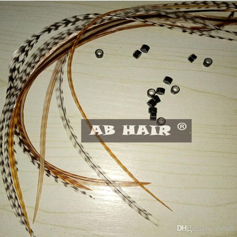 natural color feather hair extension 20-35cm 100% Real Grizzly Thin Rooster Feather hair extensions feather hair exporter