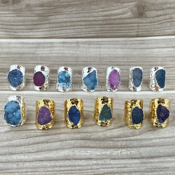 Anello di polsino con agata Druzy Druzzy Drusy anelli, placcato oro anello della pietra preziosa, argento placcato Druzy anelli, modo squilla i monili RT85_01