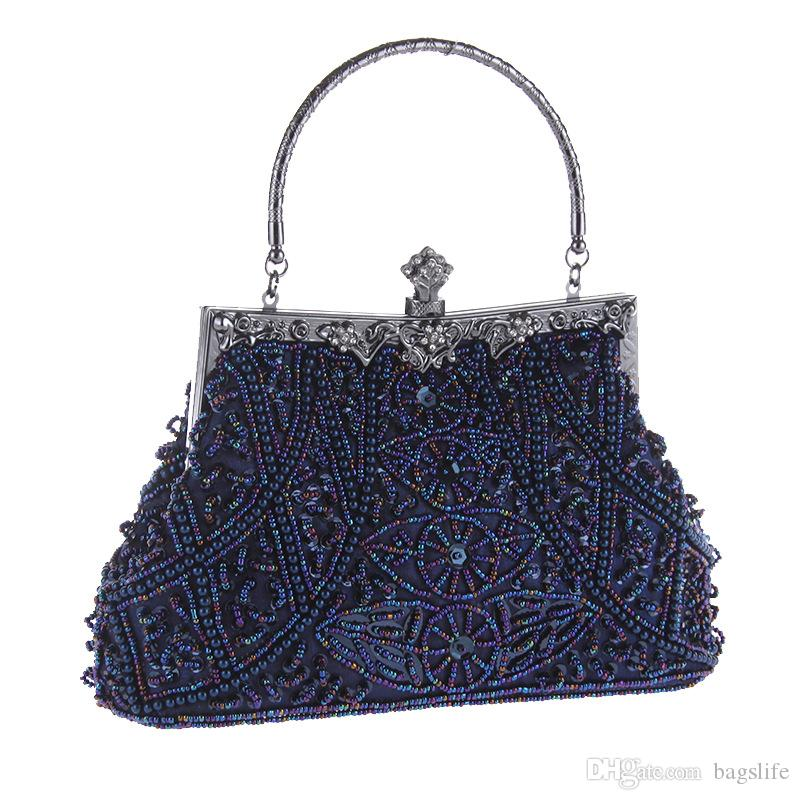 Mulheres Bolsas de Embreagem Grânulos de Noite Requintado Bolsas Para Senhoras Do Vintage Bordado Frisado Festa de Casamento Bolsa De Noiva Com Pulseira