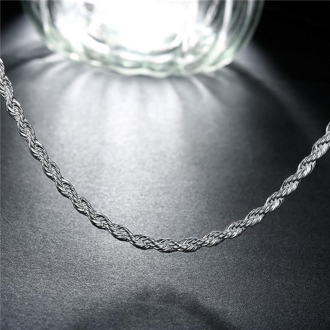 Nueva llegada Flash trenzado cuerda collar hombres plata esterlina placa collar STSN067, moda 925 cadenas de plata collar venta directa de la fábrica