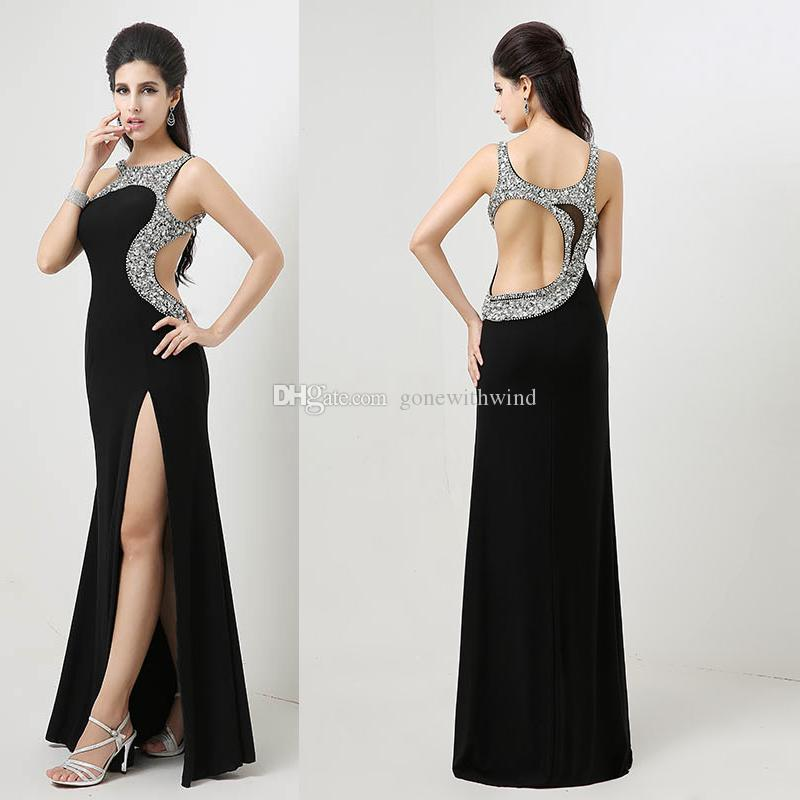 Sexy Split Prom Dresses 2017 Long Black Evening Gowns Beaded ...
