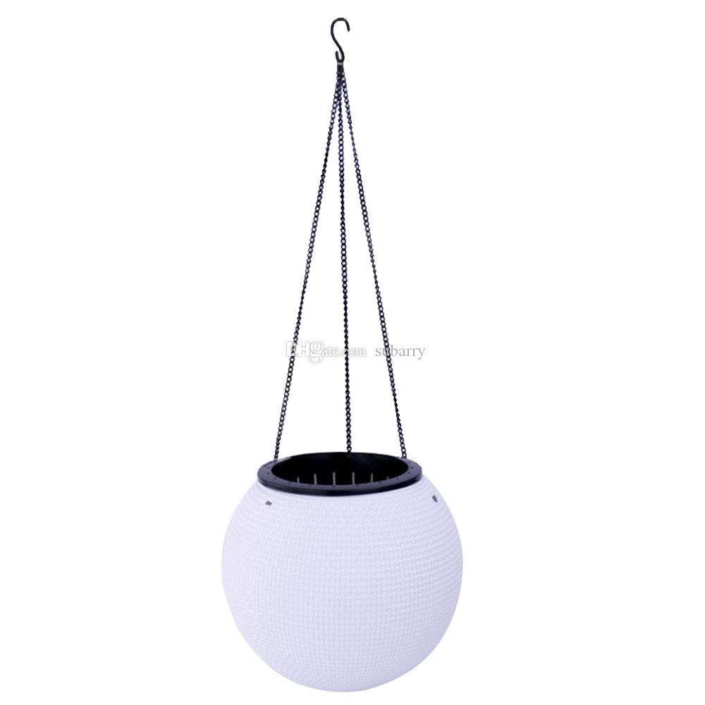 Creative Round Plastic Hanging Planters Self Watering Hanging Desktop Plant Pot Chain Basket Planter Holder for Home Cafe Decoration