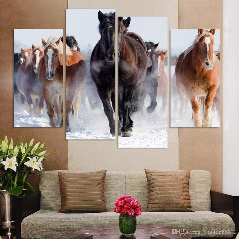 Unframed High Quality Cheap Art Pictures Running Horse Large HD Modern Home Wall Decor Abstract Canvas Print Oil Painting No Frame