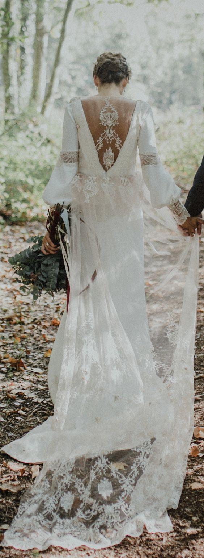 Boho Vintage Loose Manga Longa Vestidos de Noiva Jóia Do Pescoço Laço Surpreendente oco Voltar País Boêmio Vestido De Noiva De Noiva