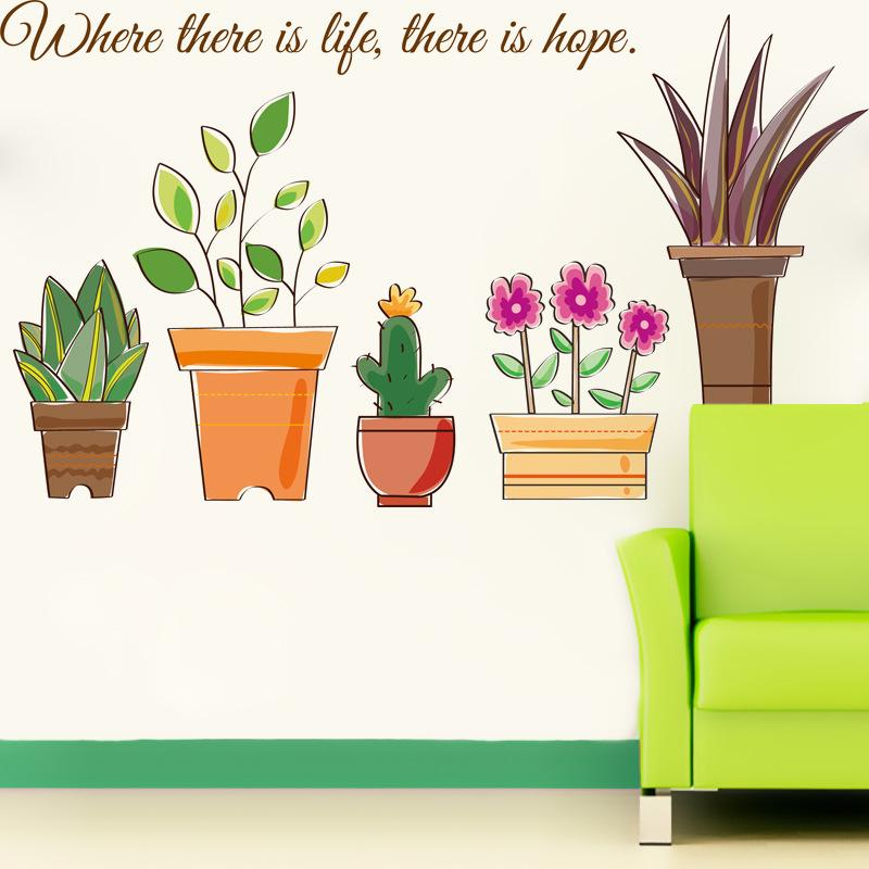 Cartoon Potted Flowers Wall Decal Stickers Green Flowerpot Bees Butterfly Wall Art Mural Poster DIY Bonsai Wall Paper Wall Border Stickers