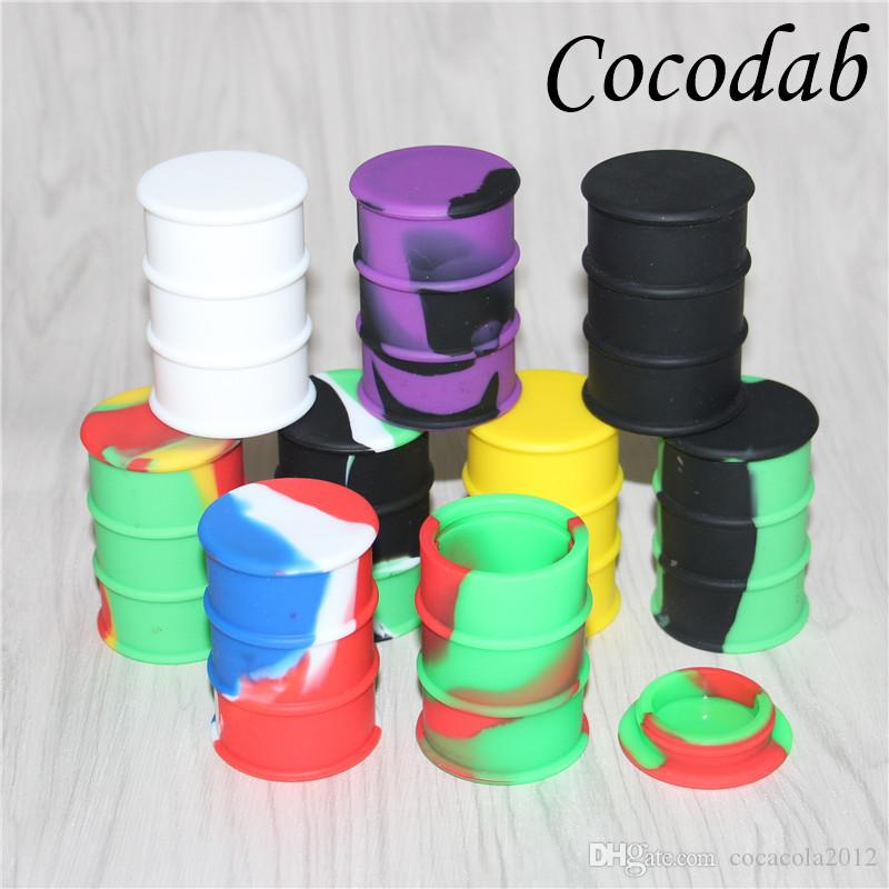 silicone oil barrel container jars dab wax oil drum shape container 26ml large silicone dry herb dabber tools FDA approved