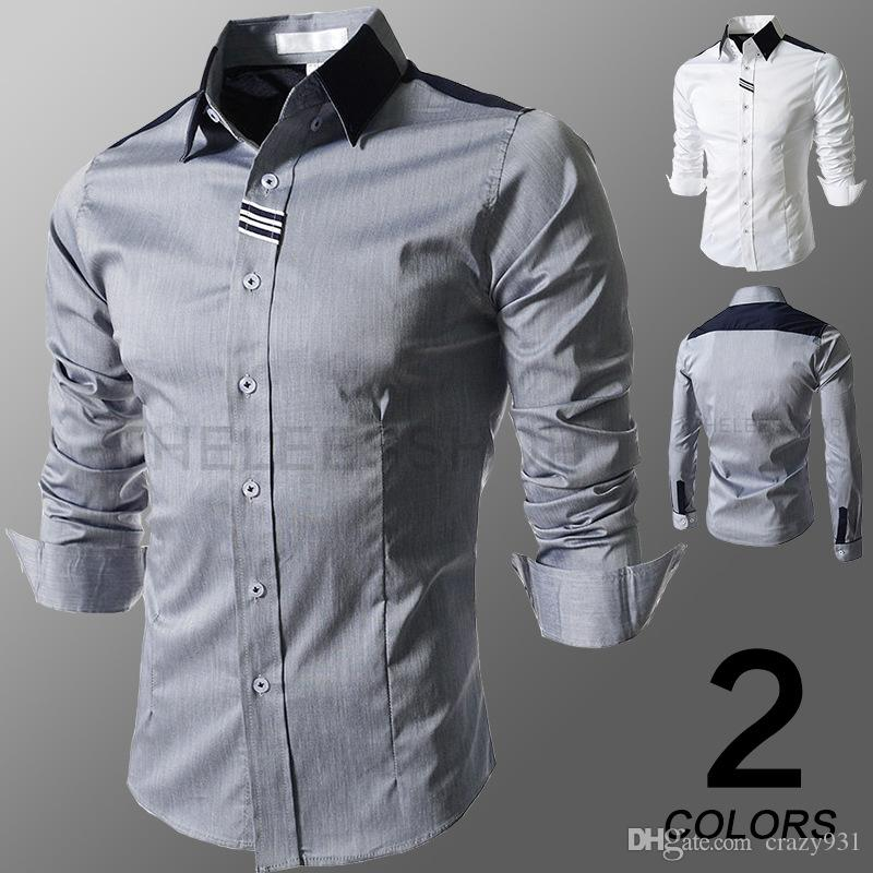 2019 Spring New Men Patchwork Fashion Casual Style Long Sleeved