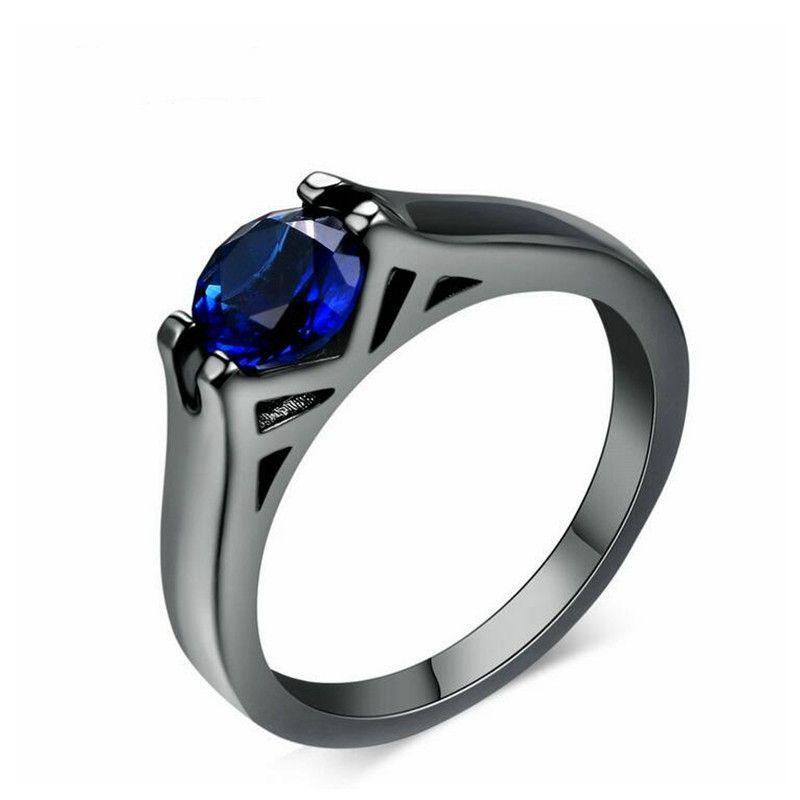 Мода OL женщин кольца Европы и Америки личность гальванических черное золото круглый голубой кристалл ювелирные изделия оптом R621