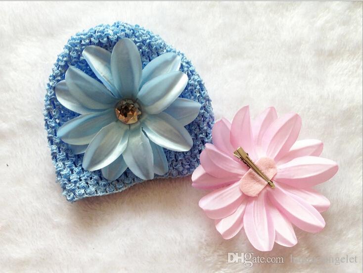 Baby Waffel Kappen Häkelarbeithüte Haarblumenclips Mütze mit Lilie Pfingstrose Blume Daisy Mädchen Kleinkind dehnbar Kappen MZ9111