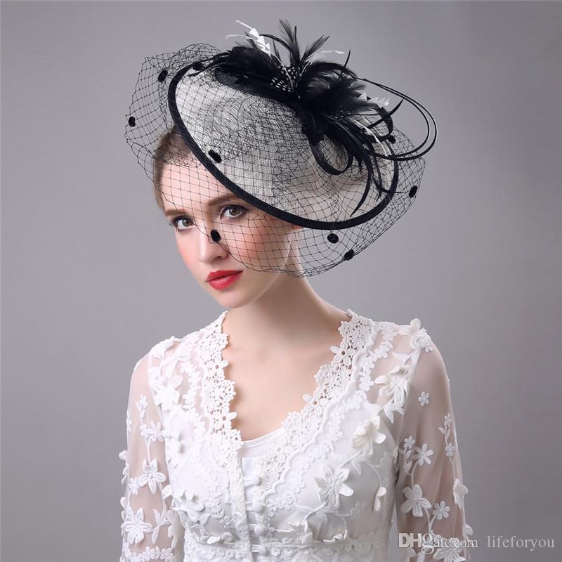 Vintage Birdcage Cappelli da sposa Fiore Wedding Sposa Velo Birdcage Accessori capelli in tulle Piuma Cappelli Decorazione le donne Damigella cerimonia nuziale