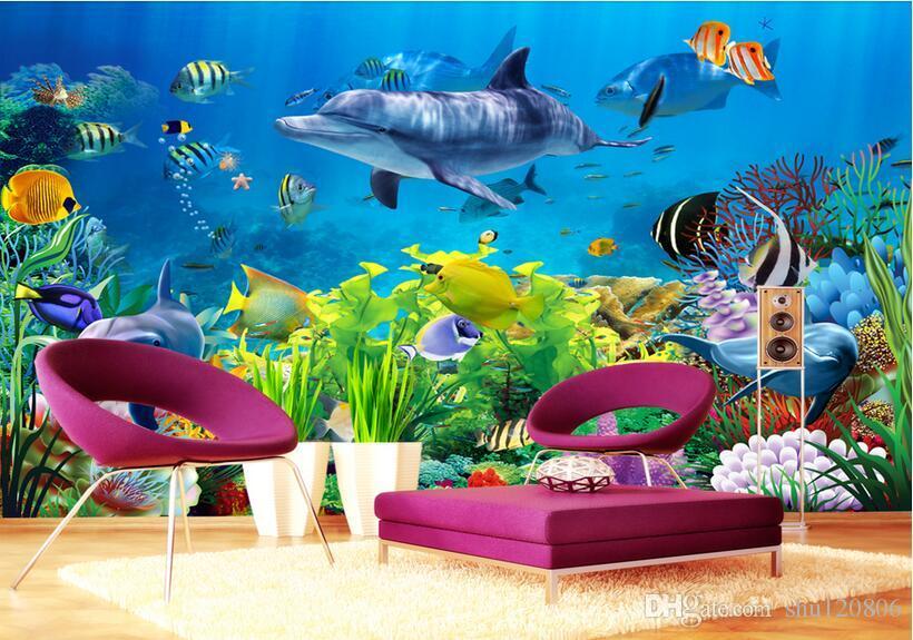 3d خلفيات صورة مخصصة غير المنسوجة جدارية الجدار ملصق كورال البحر العالم الأسماك اللوحة صورة 3d جدار غرفة الجداريات خلفية