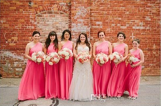 2016 Hot Pink Abiti da damigella d'onore A Line One Shoulder Floor Ruffles Chiffon Junior Bridemaid Dress 'Girls with Sash