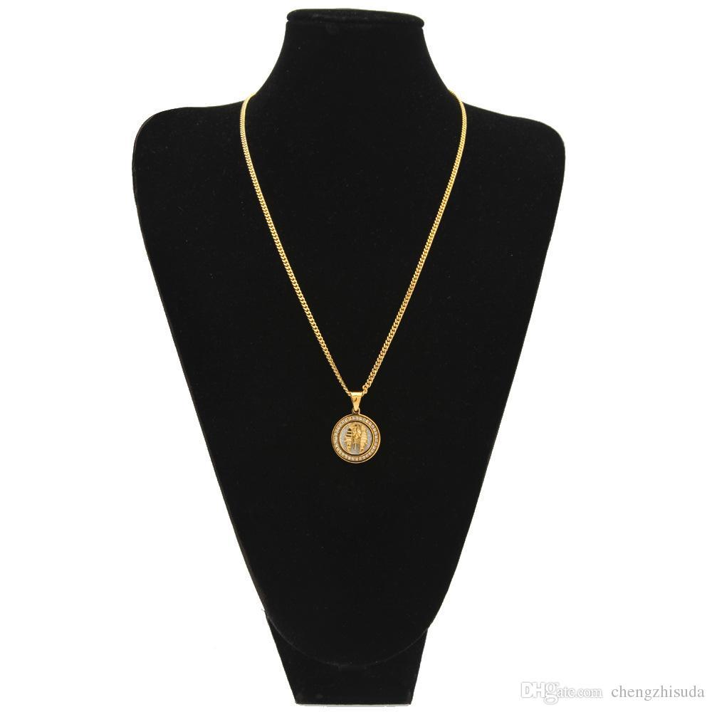 Männer Frauen Gold Runde ägyptische Chef Anhänger Edelstahl Gold Farbe mit Strass Hip Hop Halskette Modeschmuck