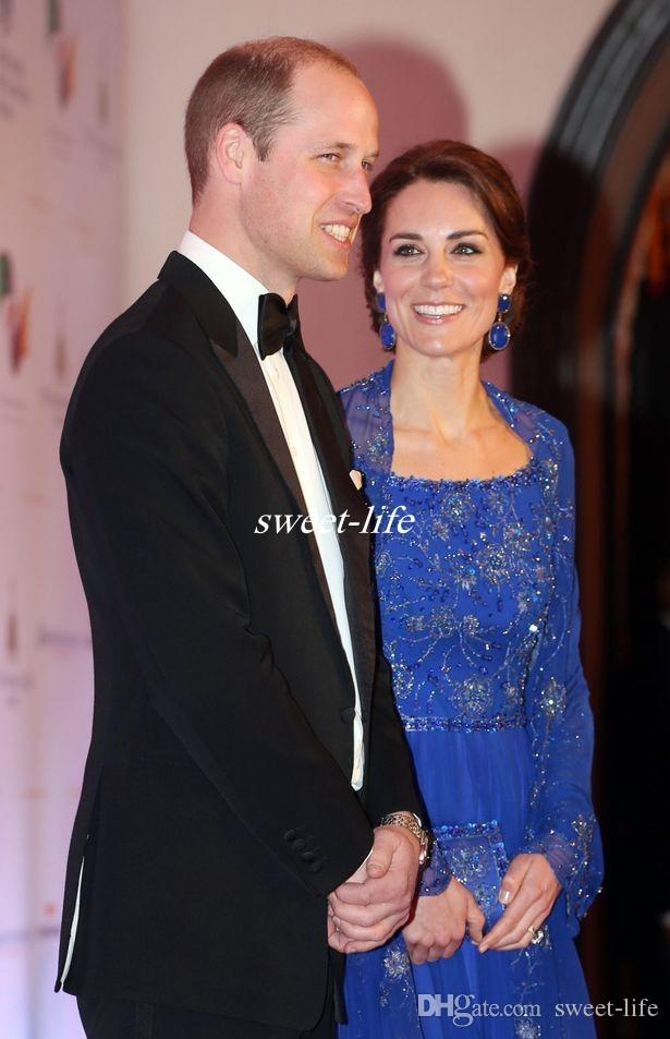 Kate Middleton Celebrity Dresses India Wear 2020 Royal Blue Long Sleeve Evening Gowns Jacket Beaded Chiffon Mother of the Bride