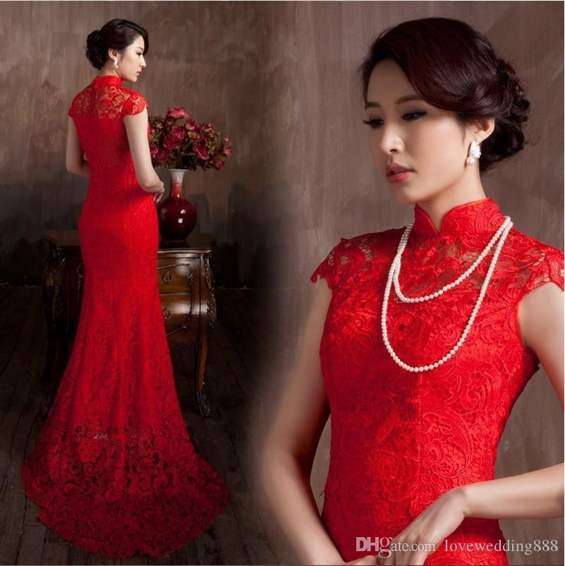 2016 wedding dresses Lace Material Red Color Luxury Chinese Traditional Wedding Dress Qipao Mermaid Wedding Dress 2017 Vestido De Noiva