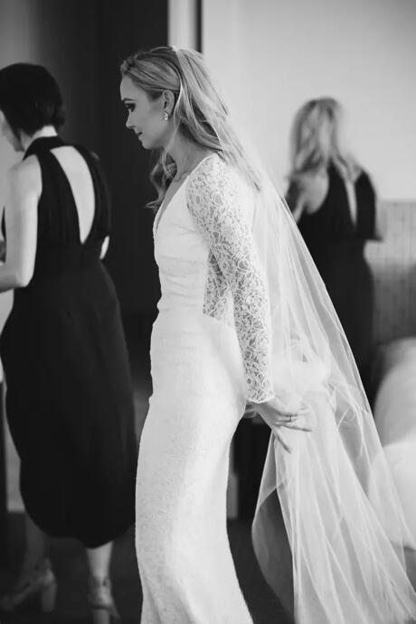 Очаровательная 2017 полный кружева с длинным рукавом Русалка свадебные платья Sexy V шеи свадебные платья плюс размер на заказ EN9114