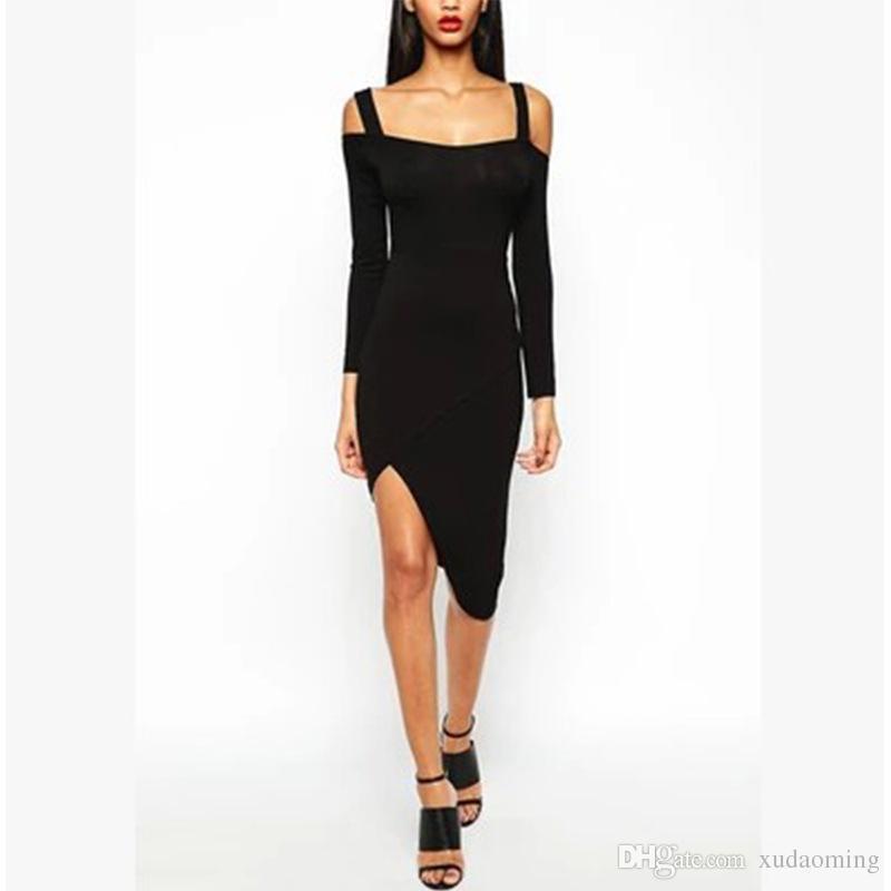 Nueva manga larga ambos hombros llevan el vestido de ventilación irregular Vestido de nalgas más el tamaño mini ropa negra vestidos de noche Club de encaje 2016