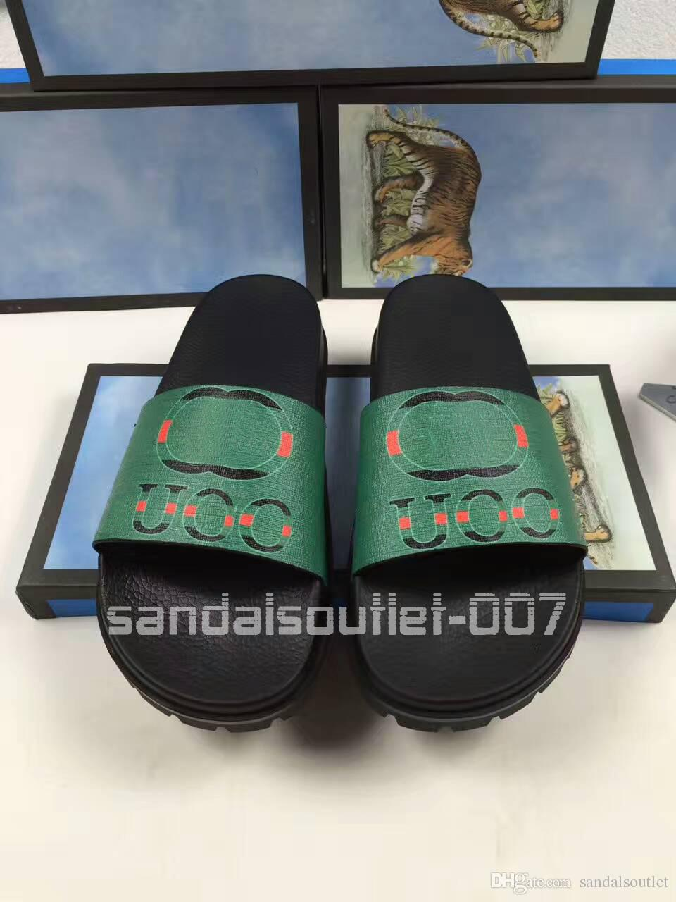 2017 new style mens causal rubber slide sandals flip flops with logo graphic printed size euro 38-46