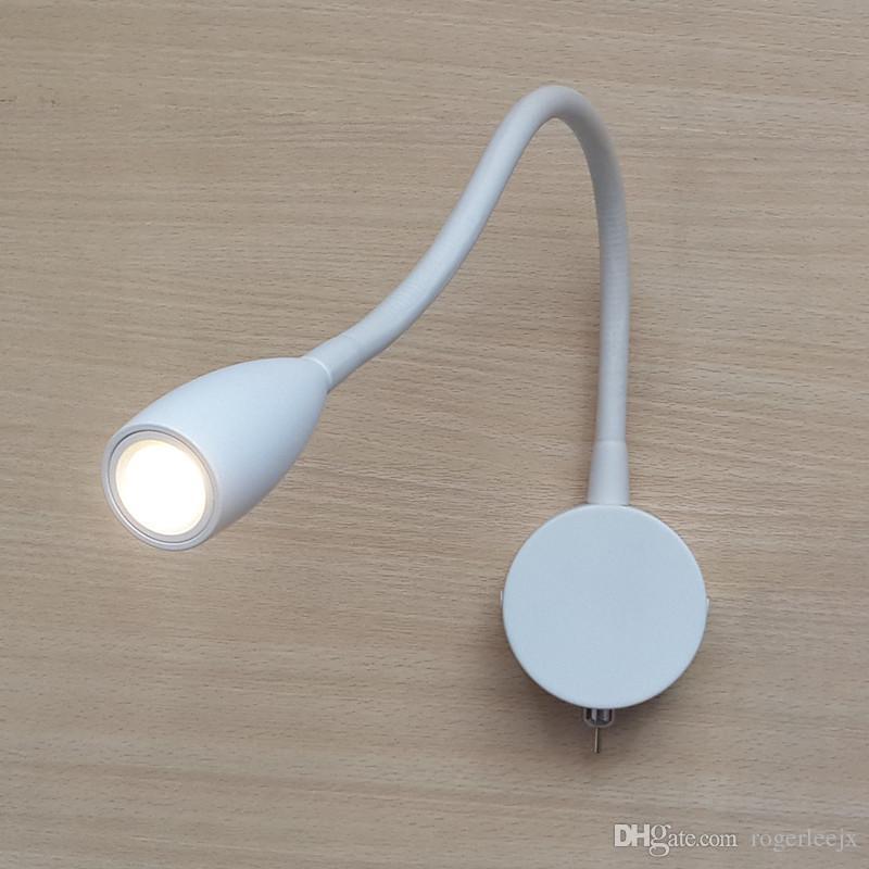 Topoch Montado en la pared Luces de cama de encendido-apagado Lámpara de interruptor minimalista Matte Blanco Rotación de aluminio Lámparas de aluminio estrecho Haz 3W LED para casa RV Barco