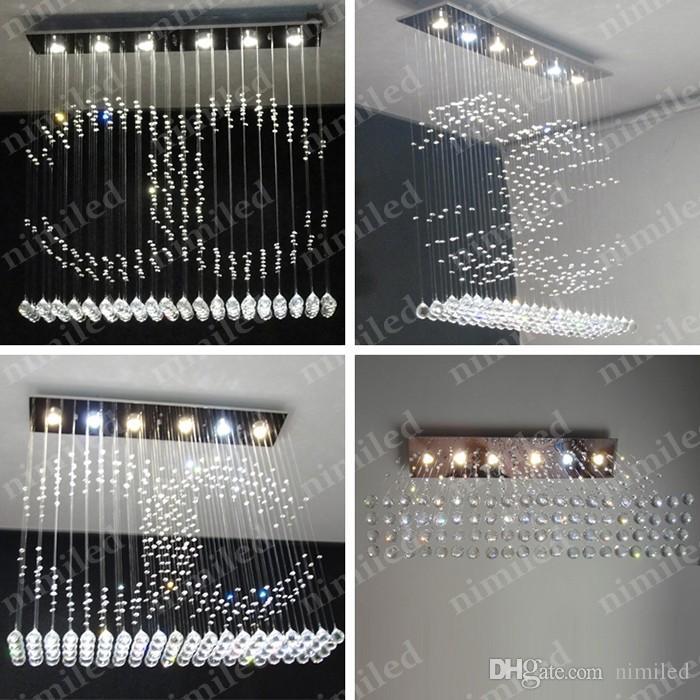 nimi749 L100cm * W20cm * H100cm 현대 레스토랑 LED 크리스탈 커튼 샹들리에 직사각형 식당 다이닝 거실 램프 펜던트 조명 조명