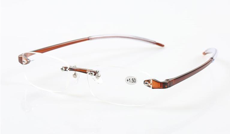 Einzelhandel 1 stücke mode männer frauen kunststoff randlose lesebrille bunte presbyopie gläser linsen power +1,0 bis +3,0 viele farben