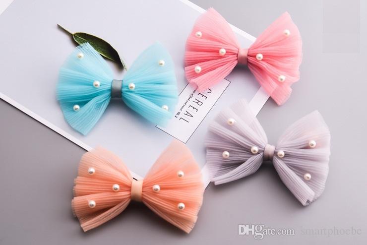 Boutique Fashion Cute Big Gauze Hair Bow Hairpins Solid Kawaii Pearls Lace Bowknot Hair Clips Princess Headware Hair Accessories