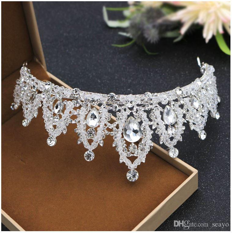 La sposa corona, corona corona di cristallo perline di cristallo, compleanno, lega di copricapo all'ingrosso, colore argento. Benvenuto comprare
