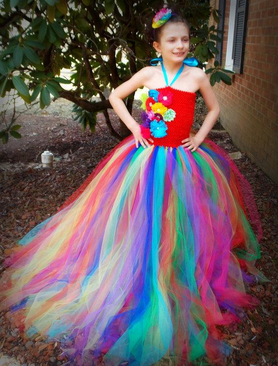 colorful tutu rainbow flower girls dresses with handmade