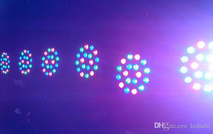 RGB LED PAR LUCE 18x3W 110V 220 V Effetto fase Lampadine di illuminazione con DMX512 Funzione dell'apparecchiatura DJ Disco Dco Decorazione feste di nozze CE Rosh