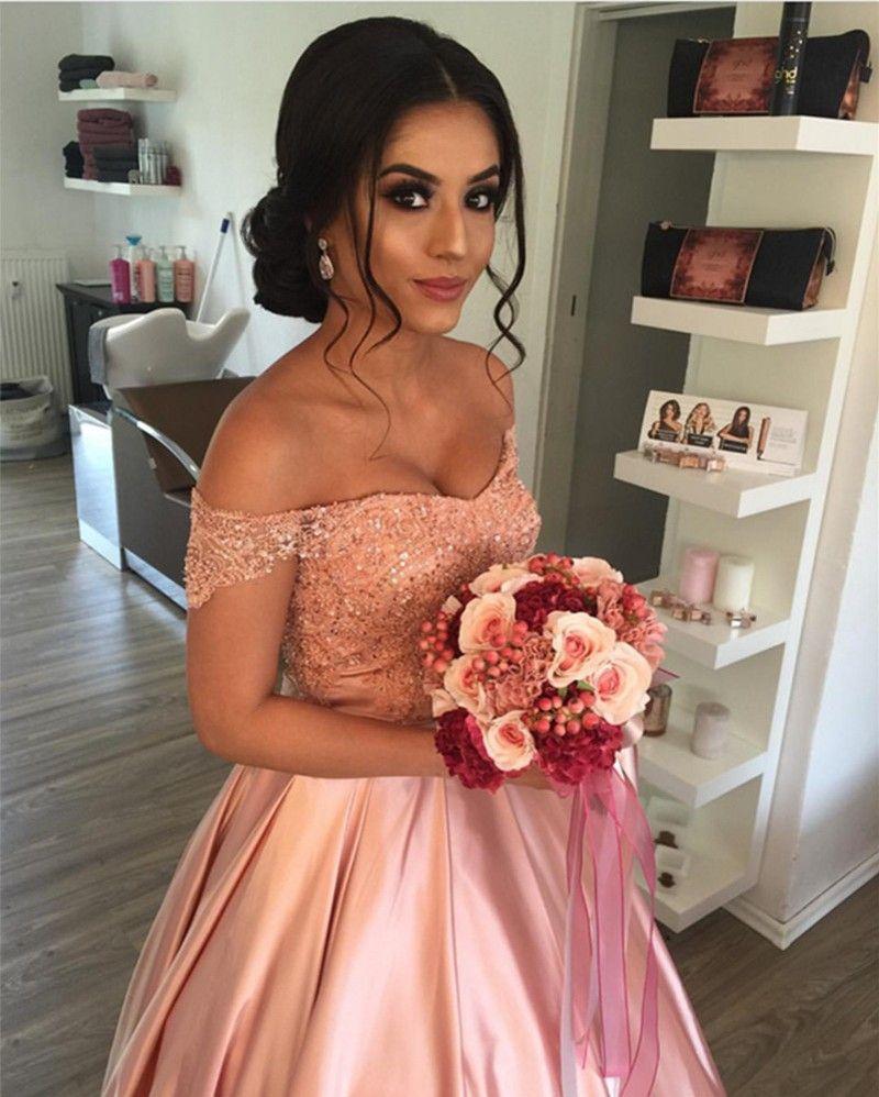 Épaule Blush rose robes de soirée appliques paillettes perlée satin longueur au sol jupe gonflée jupes robes de bal formelles Lace Up