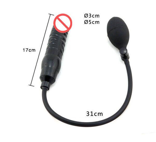 Nadmuchiwany penis Dilator Dilator Czarny Pompa Dildo Większa Zabawka Butt Plug Unisex Stymulator analny
