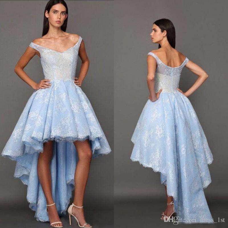 54e65e5a0cb 2016 Baby Blue Lace High Low Prom Dresses Fadwa Baalbaki Sexy Off Shoulder  Short Front Long Back Formal Gown Custom Made China EN8128 Halter Prom Dress  ...