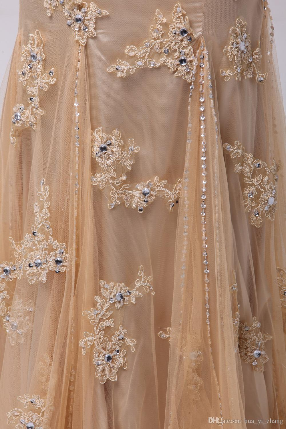 2016 Champagne Evening Dresses Beaded Spaghetti Beaded Bodice Ruffle Tulle Lace Appliques Skirts Sleeveless Real Pictures Mermaid Prom Gowns