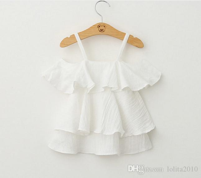 2016 fashion high Grade Girls summer tank tops new Baby Kids Clothes girls Off-shoulder princess T shirts Mini dresses children short dress