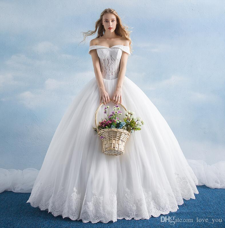Simple Casual New A Line Off Shoulder Floor Length Ivory Tulle ...