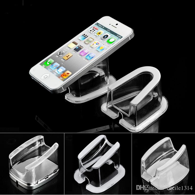 10pcs wholesales Crystal clear transparent mobile phone security Acrylic display stand holder bracket for cell phone tablet PC anti-theft