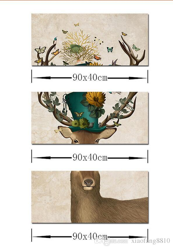 Art Animal Children Living Room kid Decoration Flower deer antlers Canvas printed Painting wall Hanging home decor unframed