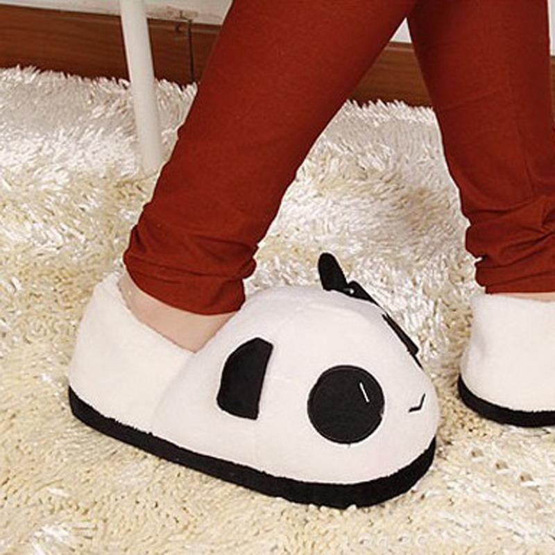 Wholesale-ASLT Women Ladies Soft Cute Panda Winter Warm Plush Antiskid Indoor Home Slipper