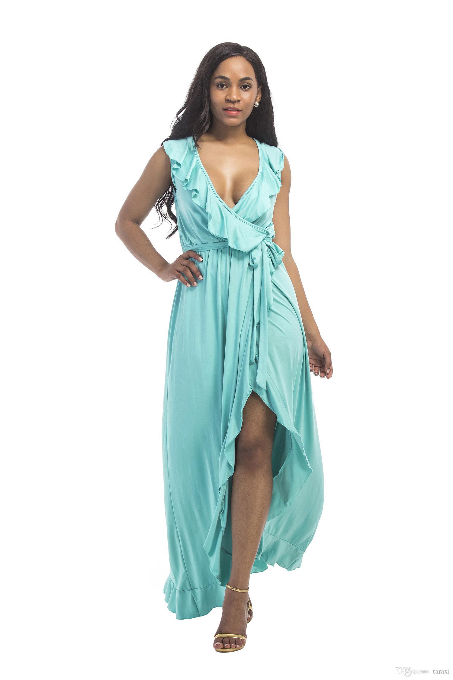 Verschiedene Moderne Kleider 2017 Das Beste Von Großhandel Neue Blaue Abendkleider Tiefem V Ausschnitt