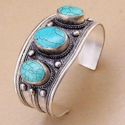 Wholesale cheap Unisex Vintage Oval Turquoise Stone Bead Cuff Bracelet Bangle Tibet Silver