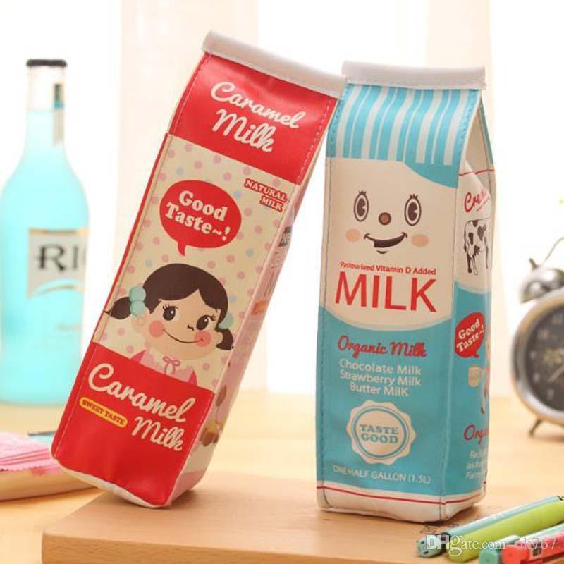 CALIENTE Bolso para lápiz creativo lápiz lindo leche Caja de lápices Caja de almacenamiento monedero billetera de cuero de LA PU Niños de la Escuela Suministros