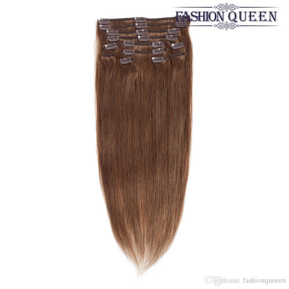 Fashion Queen Hair Clip In Hair Extensions Light Brown Full Head