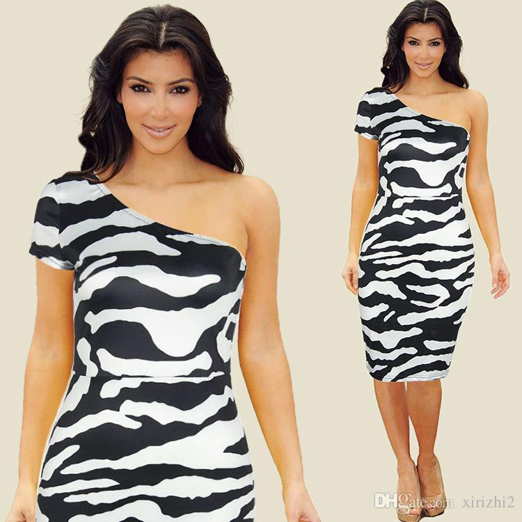 264767b0e2387 Kim Kardashian Same Sexy Oblique Collar Dress Black And White Zebra ...
