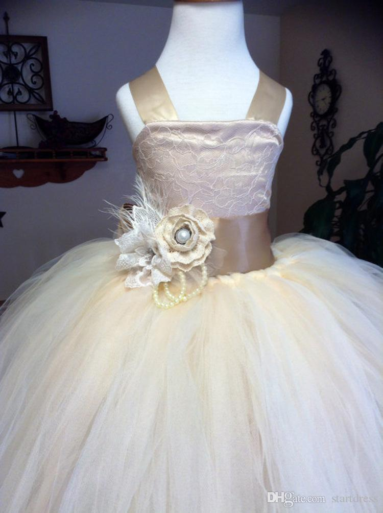 Wholesale Champagne Ball Gown Flower Girl Dresses Cheap Spaghetti Satin Tulle Girls Pageant Dresses Lace Flower Pageant Dresses For Teens